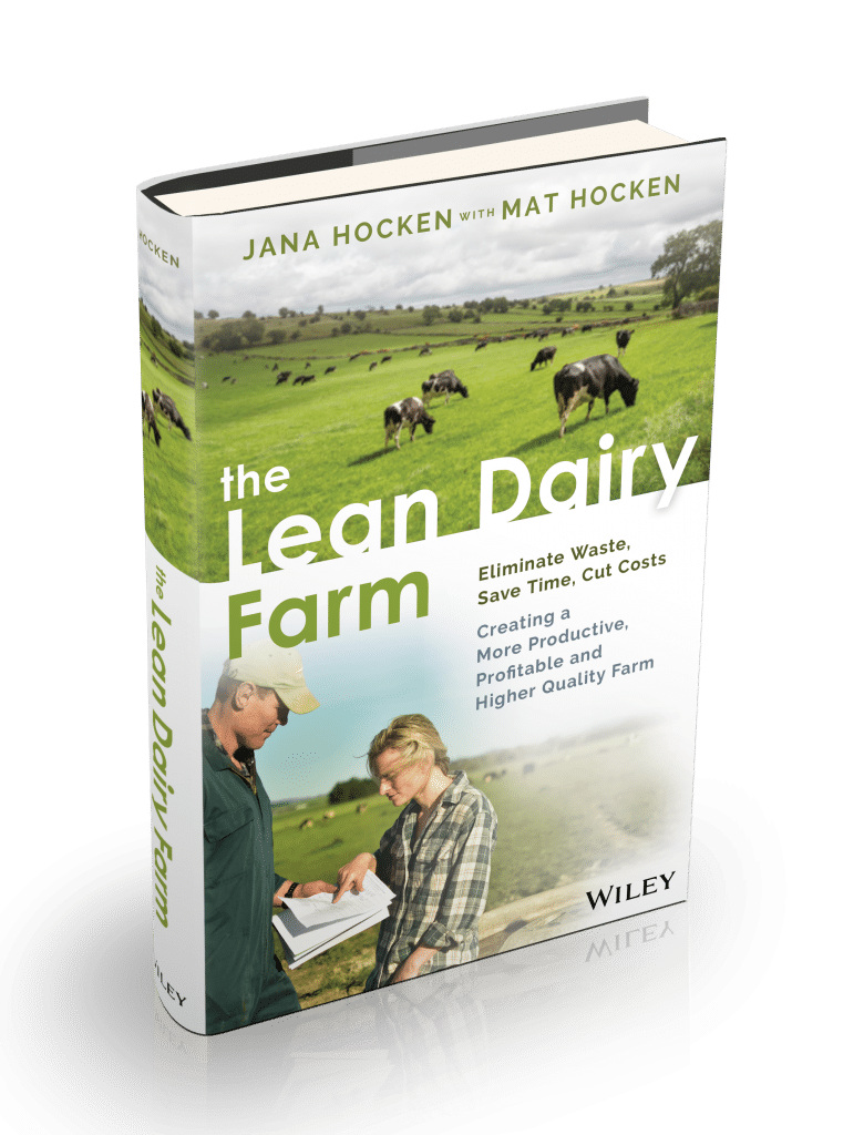 The Lean Dairy Farm by Jana Hocken Book Cover showing 2 people discussing improvements on a dairy farm